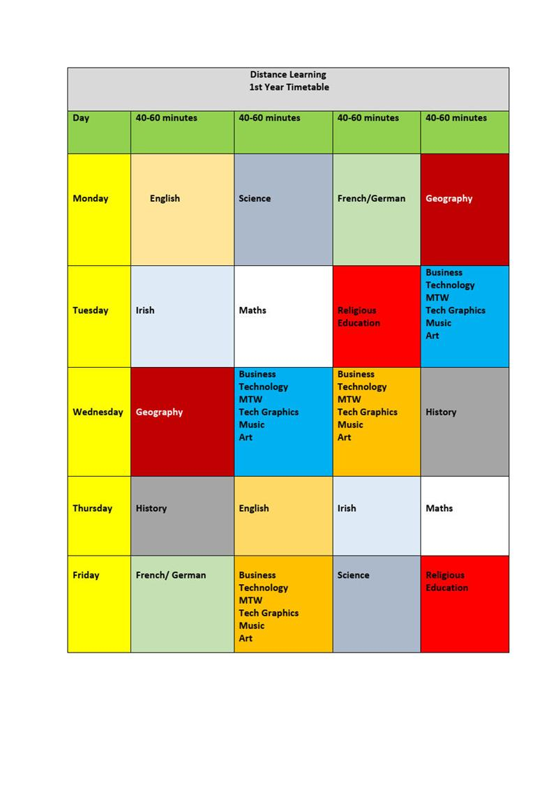 1st year timetable Distance Learning (Anne Ahern (Principal) jpg.jpg