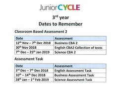 3rd Year Junior Cycle Dates to Remember 2018-2019