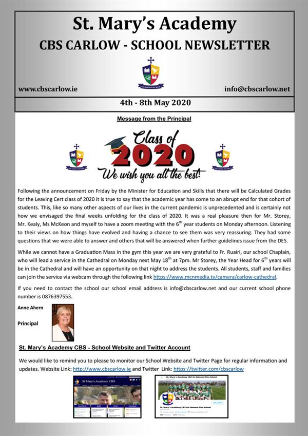 Weekly School Newsletter 8th May 2020