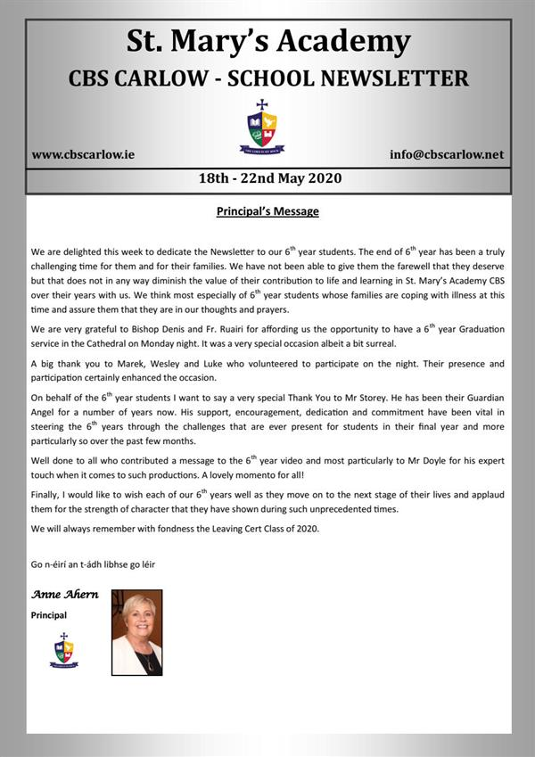 Weekly School Newsletter 22nd May 2020