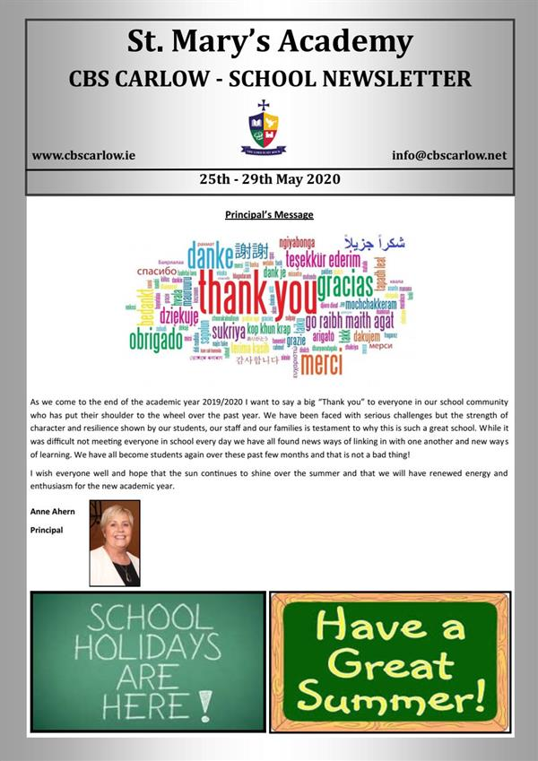 Weekly School Newsletter 29th May 2020