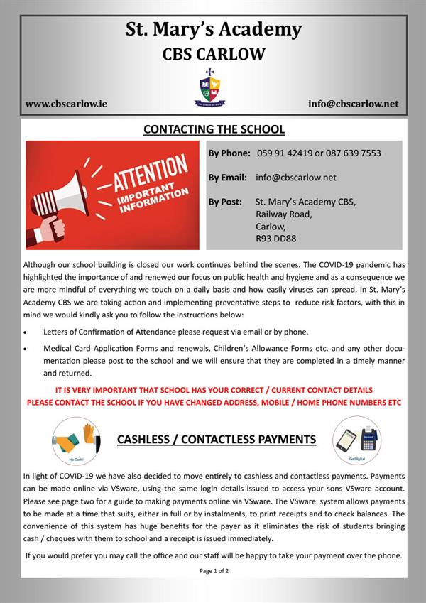 Contacting the School & Cashless / Contactless Payments on VSware Information Leaflet