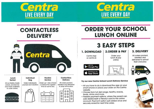 Centra 'Click and Collect' - Order Your School Lunch Online option via the Centra App