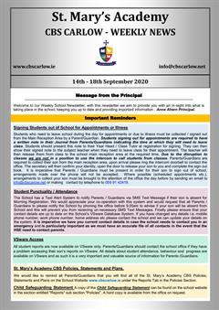 Weekly School Newsletter - 18th September 2020