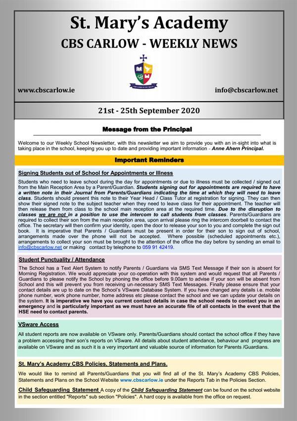 Weekly School Newsletter - 25th September 2020