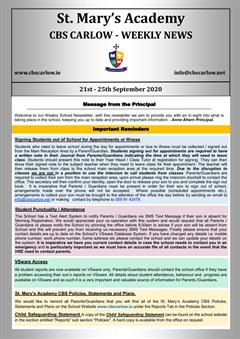 Weekly School Newsletter - 25th September 2020