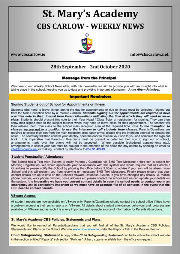 Weekly School Newsletter - 2nd October 2020