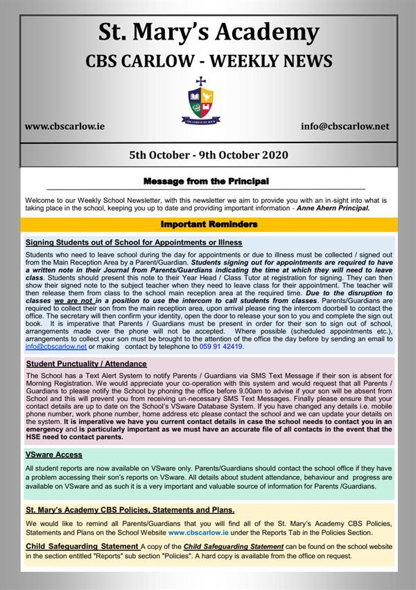 Weekly School Newsletter - 9th October 2020