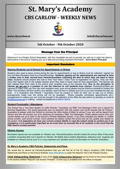 Weekly School Newsletter - 9th October 2020