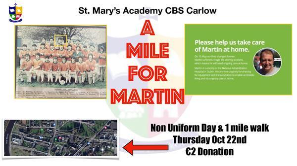 St. Mary's Academy CBS 'A Mile for Martin' Non-Uniform Day & 1 Mile Walk Fundraiser