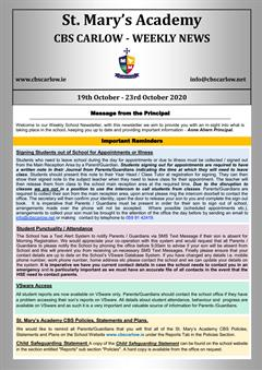 Weekly School Newsletter - 23rd October 2020