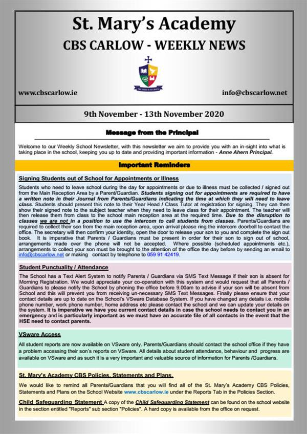Weekly School Newsletter - 13th November 2020