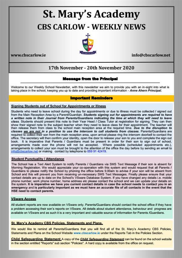 Weekly School Newsletter - 20th November 2020