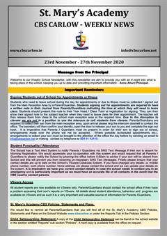 Weekly School Newsletter - 27th November 2020
