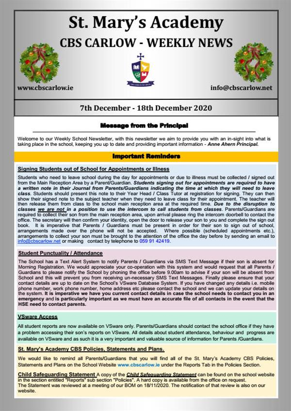 Weekly School Newsletter - 18th December 2020