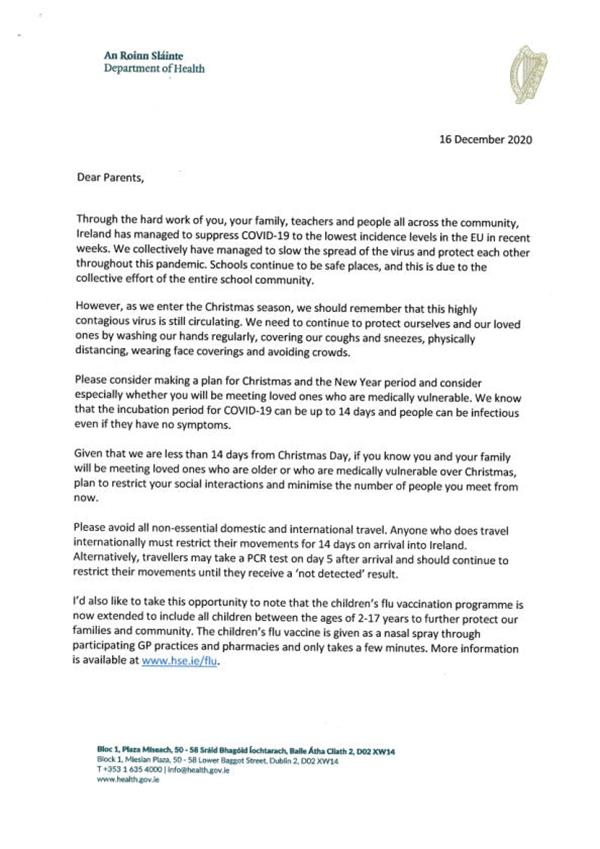 Letter to Parents / Guardians from the Chief Medical Officer Dr Tony Holohan