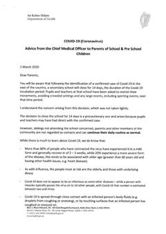 Covid-19 (Coronavirus) Letter for Schools from the Chief Medical Officer