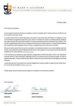 Letter to Parents regarding Covid-19 (Coronavirus)