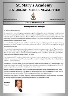 Weekly School Newsletter 27th March 2020