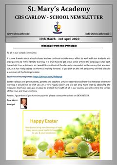 Weekly School Newsletter 03rd April 2020